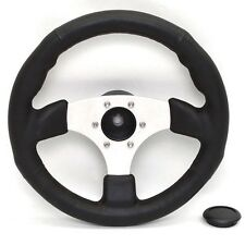 Boat Steering Wheel | Black Faux Leather 13 3/8 Inch (Single)