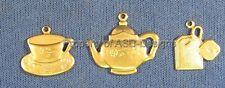 48pc Raw Brass Java Tea Coffee Party Set Charms 5755