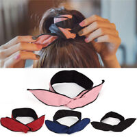 Vintage Women Cute Headband Bow Rabbit Bunny Ear Ribbon Wire Headband Bow HairEB
