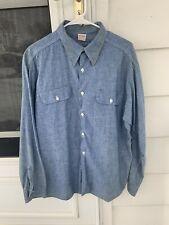 Vintage 60's Big Yank Chambray Denim Work Shirt Selvedge Union Made Xl
