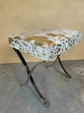 Genuine Cowhide Stool-White with Gold Flecks-Stainless Steel Silver Legs