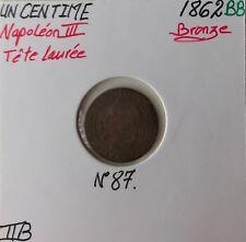 1 CENTIME NAPOLEON III - 1862BB - Monnaie en Bronze // TTB (ref 1)