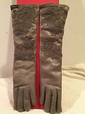 Valentino Taupe Leather Lace Applique Cashmere Lined Long Glove Size 7  $995