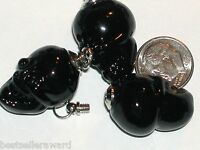 1 small Glass Skull BOTTLE Potion perfume small BLK pendant Halloween Screw top