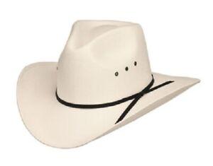 """New! Western Pinch Front White Straw Hat *Elastic 4-1/2"""" Crown, 3-1/2"""" Brim"""