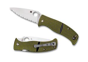 Spyderco Caribbean Kompression Schloss Messer Schwarz Gelb G10 Geriffelte Blatt