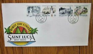SAINT LUCIA  VICTORIA HOSPITAL CENTENARY & NURSES 1987 4 STAMP SET FDC