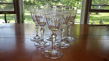 Gorham Crystal Wine Glasses Accolade Pattern Etched Floral top Panel bowl 6 8oz