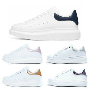 New Womens Oversized Chunky Sneakers Trainers White Glitter Ladies Platform Sole
