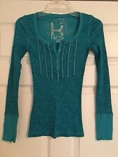 Kirra XS Teal Juniors Button Long Sleeve Thermal Floral Pattern Henley