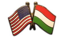 Hungary Friendship with US Flag Lapel Badge Pin