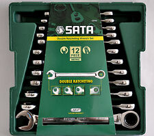 SATA Double Ratcheting Wrench spanners GearWrench Set 12pc Open End 09066