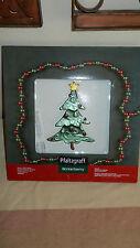Pfaltzgraff Winterberry Glass Square Serving Platter Christmas Tree NEW in Box