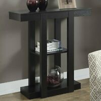 Modern Cappuccino Hall Console Accent Straight Line Table with 2 Shelves