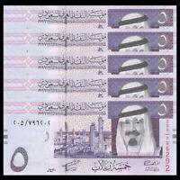 Lot 5 PCS, Saudi Arabia 5 Riyals, 2009, P-32, UNC