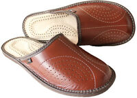 Mens Leather Slippers Slip On Shoes Size 7 8 9 10 11 12 13  Mules Sandals UK