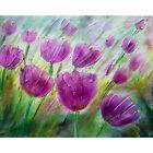 TULIPS Springtime Spring Green Grass Pink Fuchsia Purple Green Yellow Painting