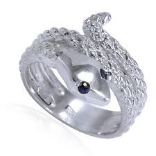 Men's or Women's 18k White Gold Snake Sapphire Eye Serpent Ring $1099.00