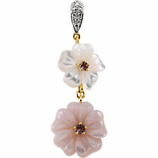 Genuine Pink Tourmaline Mother of Pearl Diamonds Flower Pendant 14K. Yellow Gold
