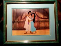 ROYAL EMBRACE ALI & JASMINE DISNEY ALADDIN LTD. ED. SERICEL NEW, CUSTOM FRAMED
