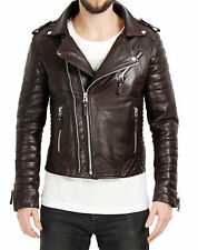 Mens Retro Style Zipped Biker Jacket Real Leather Black Quilted Biker  Casual DD