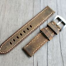 Leather strap in 22mm - Vintage deep Brown 22/22mm for Panerai watch, Breitling