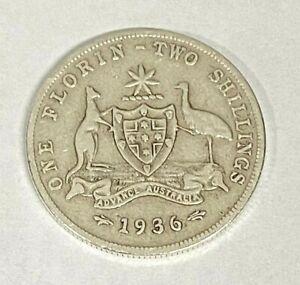 1936 Very High Grade - Silver Florin Coin ~ 92.5% Silver ~ Australia 2 Shilling