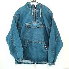 Vintage 90s No Fear Denim Jacket Mens Size XL Blue Pullover Hoodie Long Sleeve