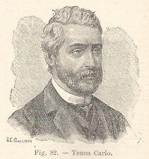 B1225 Carlo Tenca - Stampa Antica del 1930 - Xilografia - Engraving