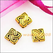 25 New Charms Square Chinese Knot Spacer Frame Beads 7mm Antiqued Gold