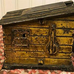 RARE Antique AJ&E Stevens Cast Iron Mechanical Bank Historic Americana in Cabin