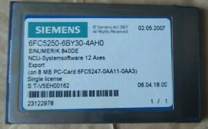 Siemens 6FC5250-6BY30-4AH0 NCU SYSTEM SOFTWARE 12 AXES SINGLE LICENCE