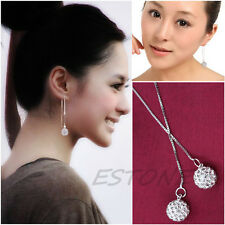 Fashion Women's Zircon Threader Drop Silver Plated Dangle Long Chain Earrings