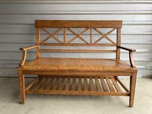 ETHAN ALLEN Tango Hall Bench with Bottom Shelf, in Terra finish 508