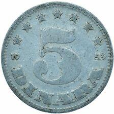 Yugoslavia, 5 Dinars, 1953 BEAUTIFUL COLLECTIBLE COIN      #WT29995