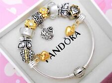 Authentic Pandora Silver Bangle Charm Bracelet Love Family With European Charms.