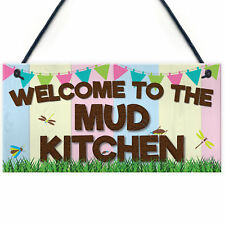 Red Ocean Welcome Mud Kitchen Home School Garden Outdoor Hanging Plaque Plot Gif