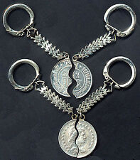 BRAZIL MIZPAH SPLIT REAL COIN (for LOVERS) KM # 520 KEY CHAINS 2 HALVES PRE 1936