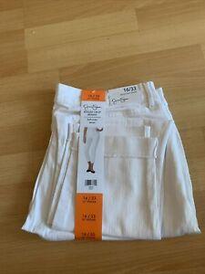 Ladies Jessica Simpson Rolled Crop Skinny White Jeans Size Uk20Us16/33 26 Inseam
