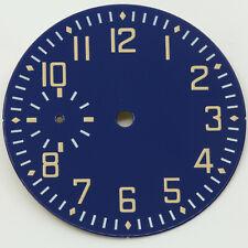 Flieger Zifferblatt für ETA Unitas 6497, Blue Enamel, Dial Cadran Superluminova
