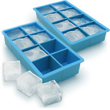 2x Ice Cube Tray 8 Extra Large Square Food Grade Jumbo Ice Cube Moulds Whiskey