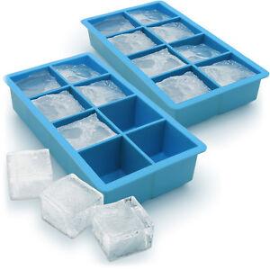 2x Ice Cube Tray 8 Extra Large Square Food Grade Jumbo Ice Cube Moulds Whiskey