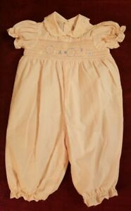 """VINTAGE """"BABY"""" SMOCKED PINK ROMPER, MADE IN PHILIPPINES, SIZE 3-6 M"""