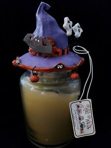 NEW Halloween candle capper topper purple Witch's hat with bat ghosts pumpkins