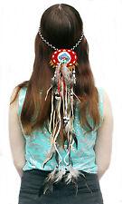 Opaska indiańska Spinka Clip prawdziwe Pióra ręcznie wykonany Hippie