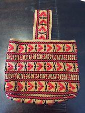 Embroidered Burlap Jute Purse / Vintage Boho Bag Crewel Hippie 70s