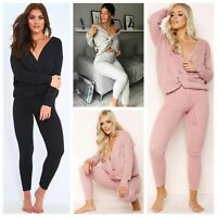Twisted Knot Front Ribbed Knit Top and Leggings Loungewear Tracksuit Set RRP 65