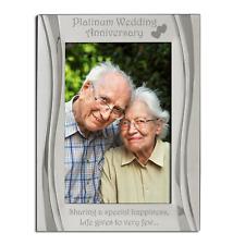 Platinum 70th Wedding Anniversary Photo Frame, Matt and Gloss Silver, 4 x 6 Inch