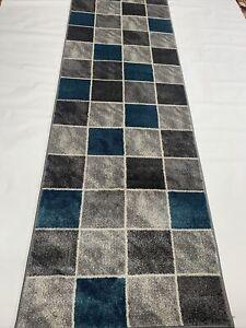"Modern  ChessPattern  Rug 80 x300Cm (2'6""x10')Runners , Grey/Silver/blue Colours"