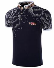 Men's Fashion Floral Style Short-sleeved POLO T-shirt